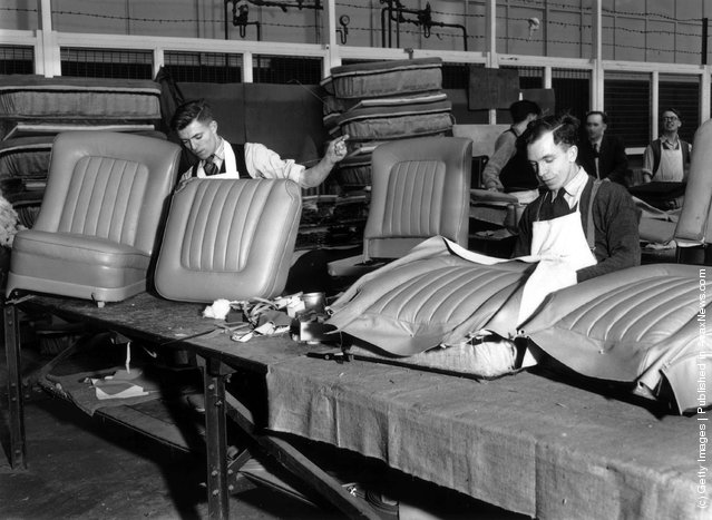 1950: Men at work in the Trimming Shop in the Rolls Royce Factory in Crewe