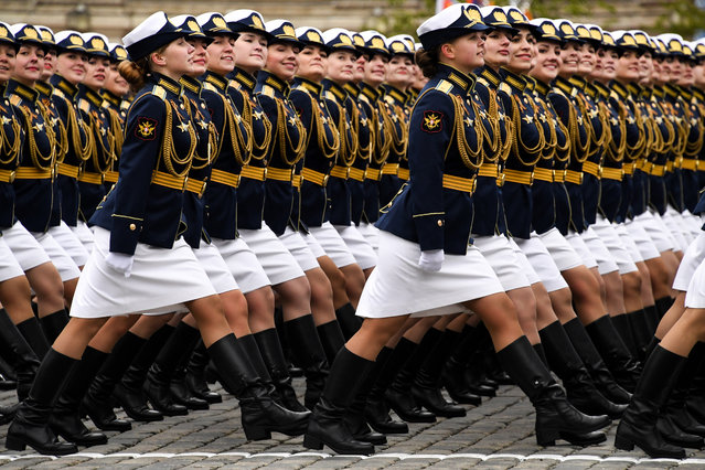 Russian servicewomen march at Red Square during the Victory Day military parade in Moscow on May 9, 2017. Russia marks the 72nd anniversary of the Soviet Union's victory over Nazi Germany in World War Two. (Photo by Kirill Kudryavtsev/AFP Photo)