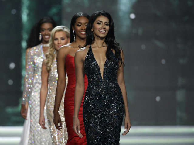 Miss New Jersey USA Chhavi Verg walks up the stage during the Miss USA contest Sunday, May 14, 2017, in Las Vegas. (Photo by John Locher/AP Photo)