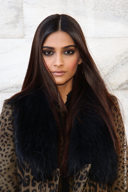 Actress Sonam Kapoor attends the Roberto Cavalli Autumn/Winter 2012/2013 fashion show as part of Milan Womenswear Fashion Week