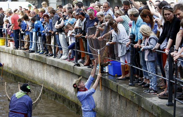A fisherman reacts after catching a trout in a small river while celebrating Fischertag (Fisherman's Day) in downtown Memmingen, southern Germany, July 25, 2015. (Photo by Michaela Rehle/Reuters)
