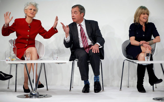"Former leader of Britain's UKIP party, Nigel Farage (C) reacts as he speaks with Italian-Swedish MEP Anna Maria Corazza Bildt (L) and British Journalist Rachel Johnson during a panel discussion at a conference on Brexit, at the Saatchi Gallery in London on February 19, 2019. The British government on Friday dismissed as a ""hiccup"" its latest parliamentary defeat over Brexit, saying it would press on with trying to renegotiate its EU divorce deal as exit day looms in just six weeks. (Photo by Tolga Akmen/AFP Photo)"