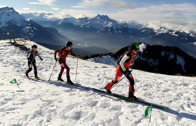 Evgeniia Dolzhenkova #22 of Russia, Sophia Wessling #7 of Germany and Maria Costa Diez #5 of Spain compete in Women's Individual in Ski Mountaineering during day 1 of the Lausanne 2020 Winter Youth Olympics on January 10, 2020 in Villars-sur-Ollon, Switzerland. (Photo by David Ramos/Getty Images)