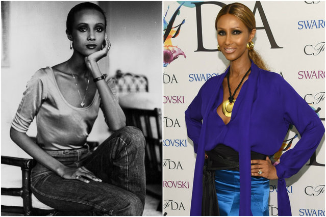 Iman in 1979 and today. (Photo by Getty Images)