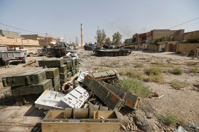 Weapon crates for Iraqi security forces are seen in Falluja, Iraq, June 26, 2016. (Photo by Thaier Al-Sudani/Reuters)