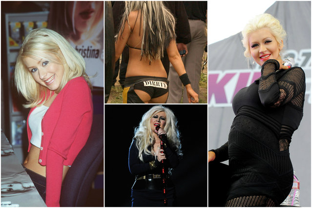 "Christina Aguilera is another Disney darling who briefly went off the deep end. She reinvented herself from a blond pop tart to a ""Dirrty"" young woman in chaps for her second album ""Stripped"", then cleaned up her act for its followups, ""Back to Basics"" and ""Bionic"". (Photo by Getty Images)"