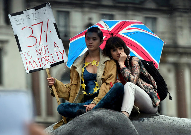 Demonstrators take part in a protest aimed at showing London's solidarity with the European Union following the recent EU referendum, inTrafalgar Square, central London, Britain June 28, 2016. (Photo by Dylan Martinez/Reuters)