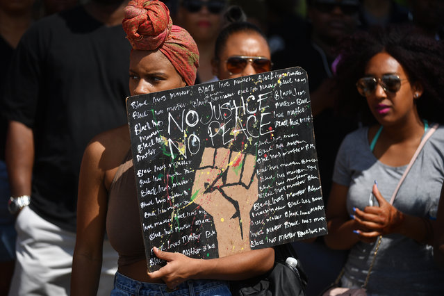 Hundreds of people and members of the Black Lives Matter Movement rally and March through the Streets of Washington DC Washington, D.C.  on July 10, 2016.  The mourn and express outrage over the law enforcement deaths of Alton Sterling and Philando Castile and others. (Photo by Marvin Joseph/The Washington Post)