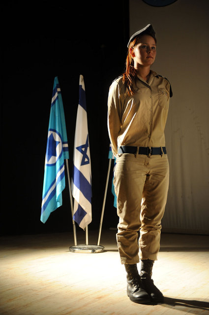 """A Deserved Decoration"", 2012. IDF medic Anastasia Begdlov was a passenger on a civilian bus on the Israel-Egypt border last August when terrorists opened fire on it. Begdlov treated injured passengers immediately, improvising with whatever supplies she could reach. She used her bra as a tourniquet on a severely wounded man's knee, saving his life. Today, the IDF rewarded her with a military decoration. Begdlov is currently a cadet in officers' course."