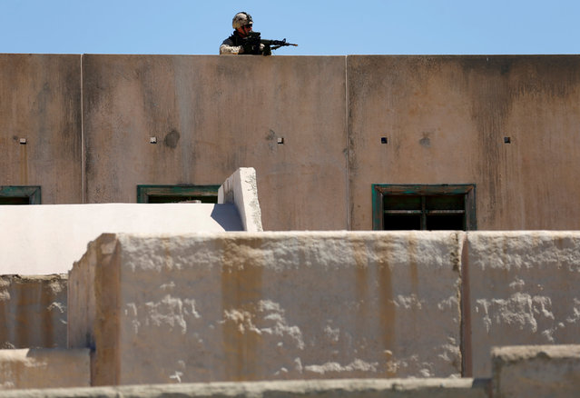 A Canadian soldier from the Royal 22nd Regiment takes a rooftop position in a simulated village as he trains during a non-combative extraction operation in urban terrain as part of Rim of the Pacific (RIMPAC) 2016 exercise held at Camp Pendleton, California United States, July 11, 2016. (Photo by Mike Blake/Reuters)