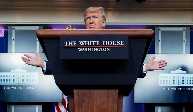 U.S. President Donald Trump speaks about the administration's response to the coronavirus disease (COVID-19) outbreak during the daily coronavirus task force briefing at the White House in Washington, U.S., April 5, 2020. (Photo by Joshua Roberts/Reuters)