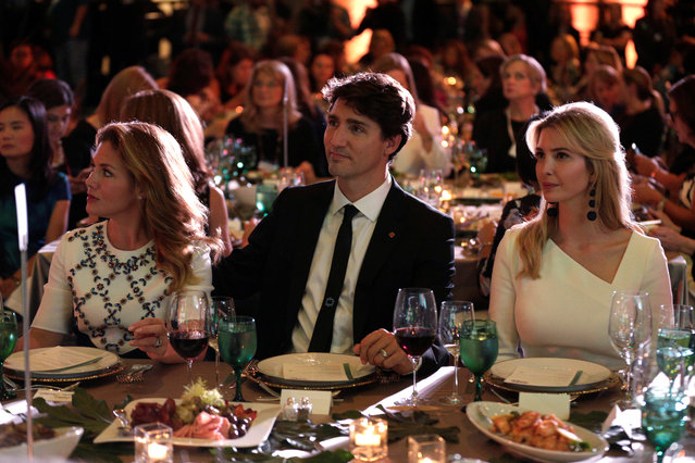 """Canadian Prime Minister Justin Trudeau, his wife Sophie and Senior White House Advisor Ivanka Trump sit together at the 2017 Fortune magazine's """"Most Powerful Women"""" summit in Washington, U.S., October 10, 2017. (Photo by Joshua Roberts/Reuters)"""