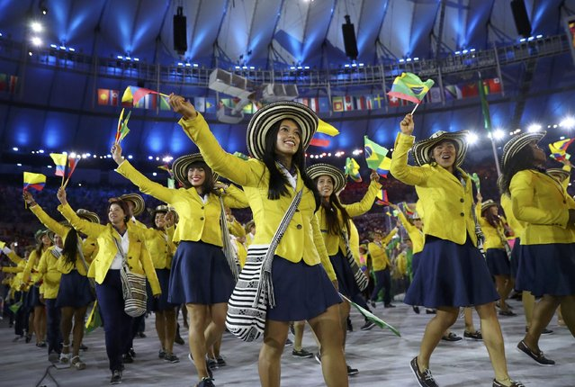 2016 Rio Olympics, Opening ceremony, Maracana, Rio de Janeiro, Brazil on August 5, 2016. Athletes of Colombia take part in the opening ceremony. (Photo by Kai Pfaffenbach/Reuters)