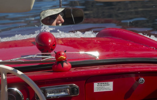 James Spear of Henderson, Nevada is reflected in a rear-view mirror as he operates a 1964 Amphicar 770 during the first Las Vegas Amphicar Swim-in at Lake Mead near Las Vegas, Nevada October 9, 2015. (Photo by Steve Marcus/Reuters)