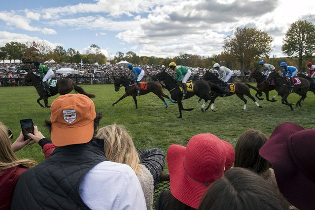 Spectators watch one of the horse races from the sidelines at the Far Hills Race Day at Moorland Farms in Far Hills, New Jersey, October 17, 2015. (Photo by Stephanie Keith/Reuters)