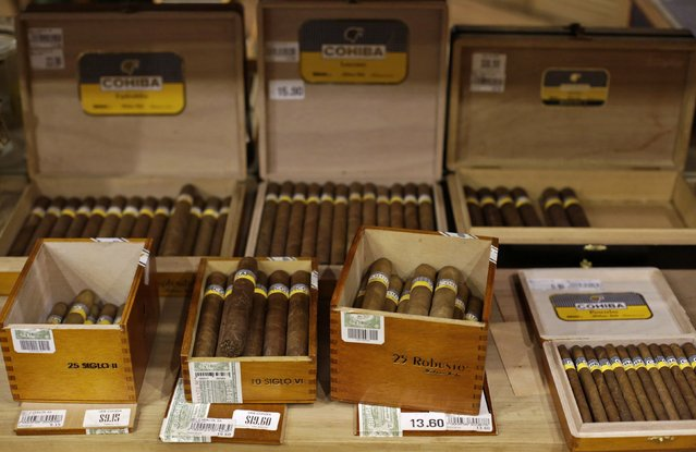 Cuban cigars for sale are on display at a hotel in Havana December 19, 2014. (Photo by Enrique De La Osa/Reuters)