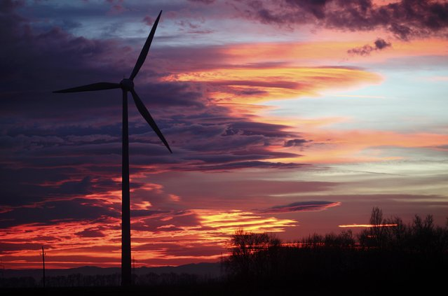 The setting sun illuminates the sky behind wind turbines of a wind park near Neusiedl am See, December 22, 2014. (Photo by Heinz-Peter Bader/Reuters)