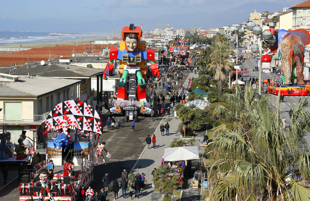 Floats depicting Italian Premier Matteo Renzi are shown at the traditional Viareggio Carnival parade in Viareggio, Italy, Sunday, February 1, 2015. (Photo by Fabio Muzzi/AP Photo)