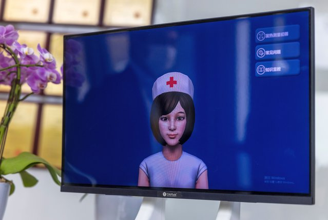 A medical AI robot screen is seen in the TMiRob company in Shanghai, China, 13 April 2021. TMiRob, Tami Robotics Technology Co. Ltd is the first Chinese high-tech company to provide intelligent robot solutions for the fields of healthcare. Well-known investors, including the Chinese Academy of Science Holdings, IDG, GPCapital, SPINOTEC, Ecovacs, have been invested in TMiRob during the first three years of its founding. (Photo by Alex Plavevski/EPA/EFE)