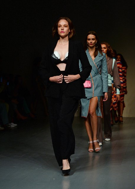 Model mum Valeria Garcia walks Marta Jakubowski's SS19 show wearing world first silent wearable breast pump: Elvie Pump at BFC Show Space on September 14, 2018 in London, England. (Photo by Eamonn M. McCormack/Getty Images for Elvie)