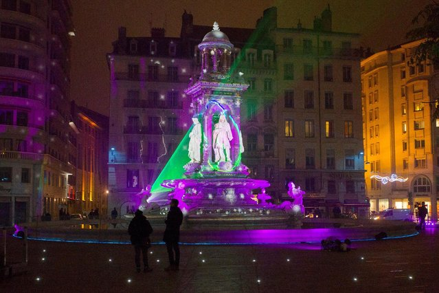 View of Fontaine d'Etoiles installation by artist Patrice Warrener at Place des Jacobins during the rehearsal for the Festival of Lights (Fetes des Lumieres) in Central Lyon, France, late December 7, 2016. (Photo by Emmanuel Foudrot/Reuters)