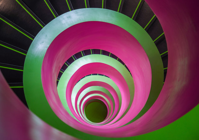 A spiral staircase in the library at the Brandenburg University of Technology Cottbus-Senftenberg (BTU) in Cottbus, Germany on May 17, 2018. (Photo by Patrick Pleul/Picture Alliance/Avalon.red)