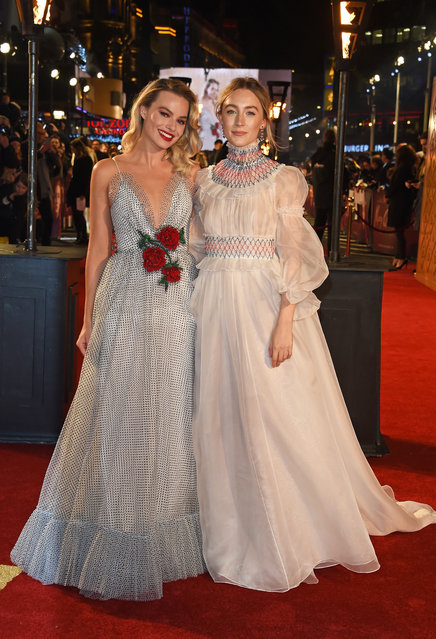 "Margot Robbie and Saoirse Ronan attend the European Premiere of ""Mary Queen Of Scots"" at Cineworld Leicester Square on December 10, 2018 in London, England. (Photo by David M. Benett/Dave Benett/WireImage )"