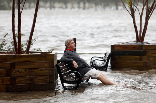 A man sits on a park bench in a flooded park as the Cape Fear River rises above its usual height in Wilmington, North Carolina, September 14, 2018. (Photo by Jonathan Drake/Reuters)