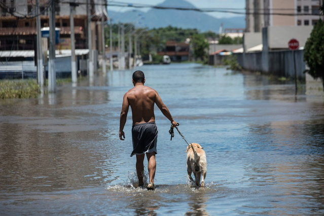 A man and his dog wade through a flooded road in Vila Velha, Espirito Santo state, Brazil, on December 27, 2013. At least 44 people have died and more than 60,000 have been left homeless following torrential rains over the past few weeks in southeast Brazil. (Photo by Yasuyoshi Chiba/AFP Photo)