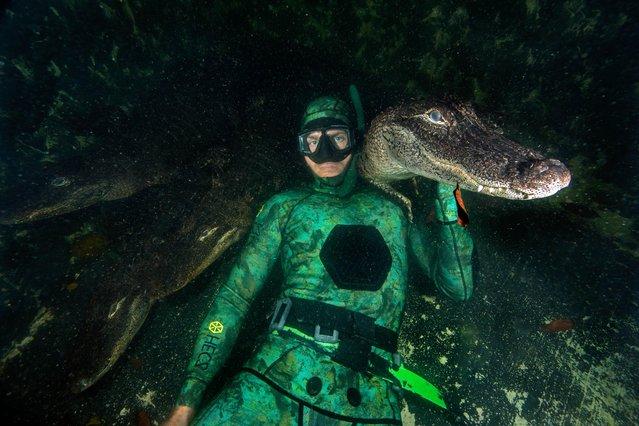 An alligator perches on Chris' shoulder. (Photo by Chris Gillette and Michael Dornellas/Mediadrumworld.com)