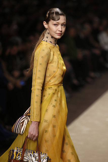 Model Gigi Hadid wears a creation as part of the Fendi women's Fall-Winter 2019-2020 collection, that was presented in Milan, Italy, Thursday, February 21, 2019. (Photo by Antonio Calanni/AP Photo)