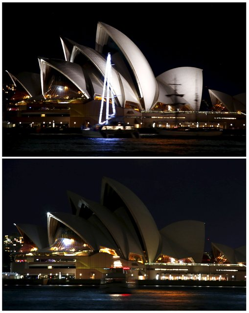 A combination photograph shows the lights of the Sydney Opera House before (top) and after they were switched off for Earth Hour in Sydney, Australia, March 19, 2016. (Photo by David Gray/Reuters)