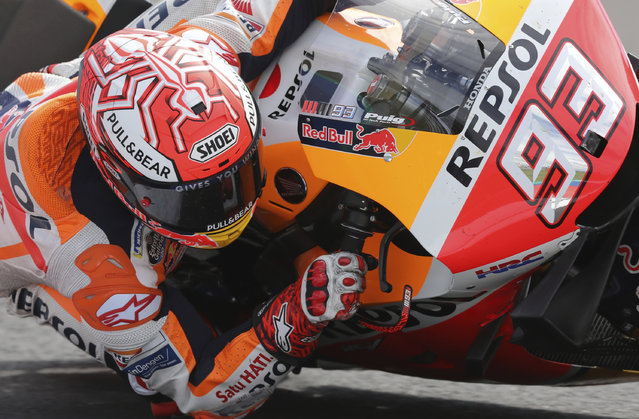 In this Sunday, March 31, 2019, file photo, Marc Marquez, of Spain, drives his motorcycle during the Moto GP race at the Termas de Rio Hondo circuit in Argentina. The reigning MotoGP champion has dominated the Circuit of the Americas from the year it opened and the Repsol Honda rider comes back right back on top of the season standings in a chase for a sixth title in seven years. (Photo by Nicolas Aguilera/AP Photo/File)