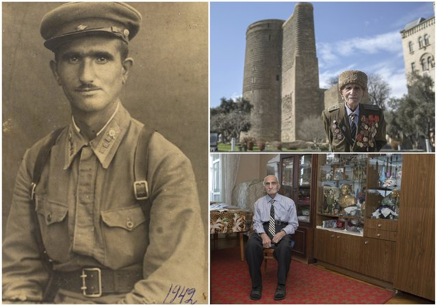World War Two veteran Allakhverdi Aliyev, 102, is seen in an undated handout picture (L), posing for a picture in front of the Maiden Tower in Baku (Top R) and at home in Azerbaijan April 14, 2015. Aliyev served in an infantry unit of the Soviet Union army from November 1941 until 1944. Originally from Azerbaijan, the end of World War Two found him at the hospital in Warsaw, Poland. (Photo by Elmar Mustafazadeh/Reuters/Family handout (L))