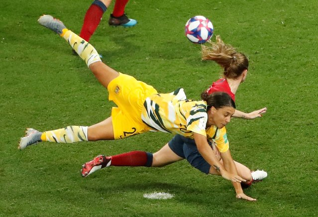 Australia's Sam Kerr in action during the 2019 FIFA Women's World Cup France Round of 16 match between Norway and Australia at Stade de Nice on June 22, 2019 in Nice, France.. (Photo by Jean-Paul Pelissier/Reuters)