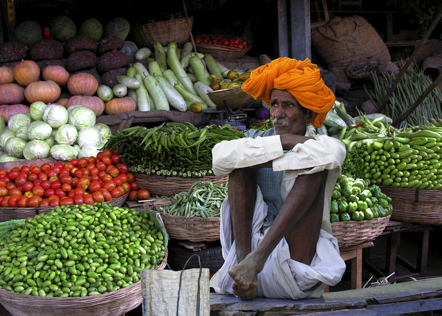 """Vegetable Seller – Rajasthan"". (Photo by Michael Sheridan)"