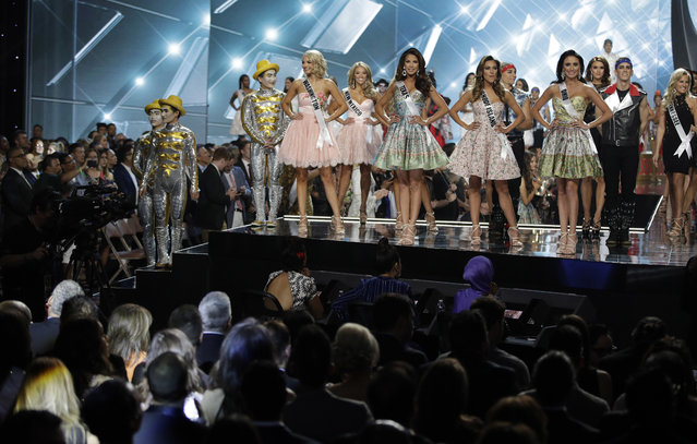 Contestants stand on stage during the Miss USA contest Sunday, May 14, 2017, in Las Vegas. (Photo by John Locher/AP Photo)