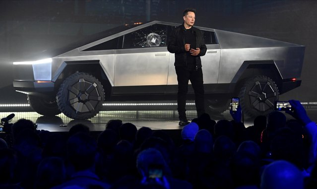 Tesla CEO Elon Musk unveils the Cybertruck at the TeslaDesign Studio in Hawthorne, Calif. on November 21, 2019. The cracked window glass occurred during a demonstration on the strength of the glass.Mandatory (Photo by Robert Hanashiro/USA TODAY)
