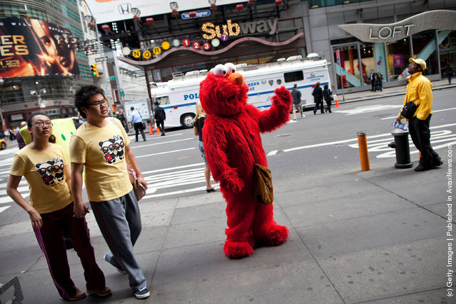 Elmo is seen in Times Square on March 23, 2012 in New York City