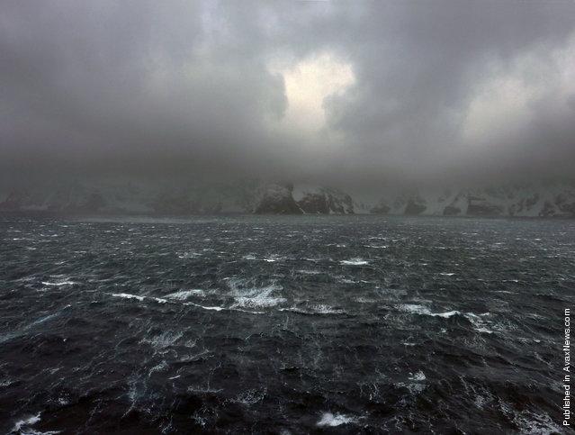 Gale winds blow across the ocean, near Elephant Island