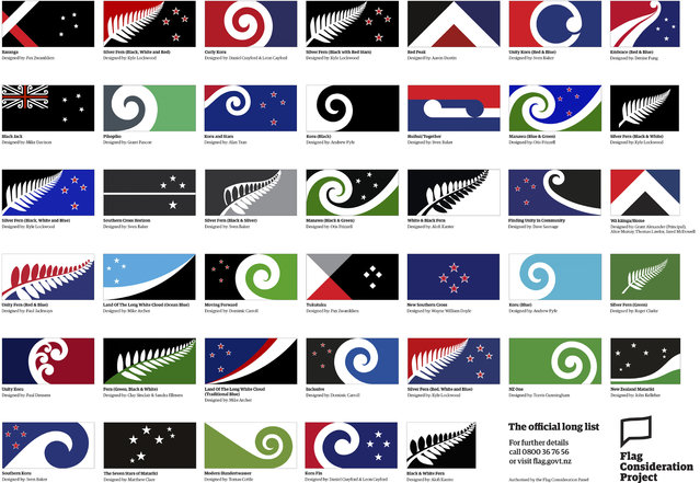 This August 11, 2015, image released by the New Zealand Flag Consideration Project shows 40 designs being considered as the new flag for New Zealand in Wellington, New Zealand. New Zealand is considering changing its flag. The public was encouraged to come up with ideas, and submitted over 10,000 designs. A government-appointed panel has winnowed those down to 40 finalists. (Photo by New Zealand Flag Consideration Project via AP Photo)