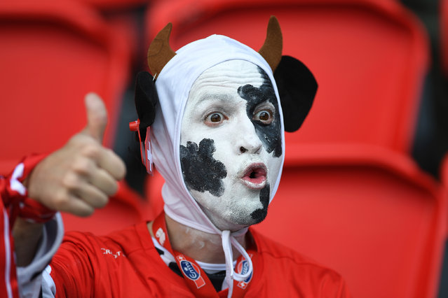 A Swiss supporter looks on during the UEFA EURO 2016 Group A match between Romania and Switzerland at Parc des Princes on June 15, 2016 in Paris, France. (Photo by Shaun Botterill/Getty Images)