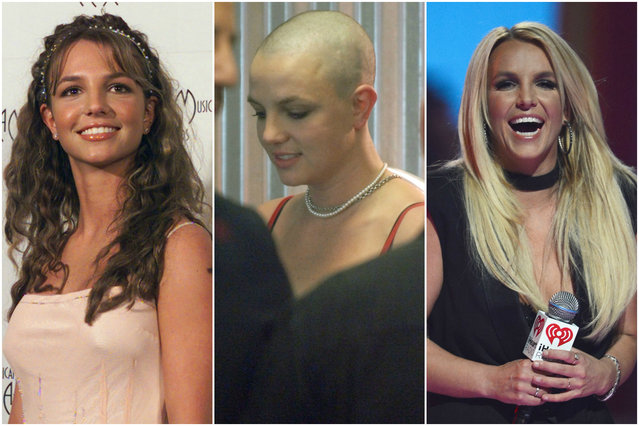 "Britney Spears started out as a squeaky clean Mouseketeer, but after splits from Justin Timberlake and Kevin Federline, Spears had a breakdown in 2007. The singer infamously shaved her head, was rumored to have drug problems and was put under a conservatorship that still stands today. Thankfully, she's eliminated the ""Toxic"" people from her life and is enjoying living with her sons and her Vegas residency. (Photo by Getty Images/Bauer-Griffin)"