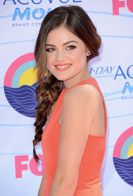 Actress Lucy Hale arrives at the 2012 Teen Choice Awards at Gibson Amphitheatre on July 22, 2012 in Universal City, California. (Photo by Jeffrey Mayer)