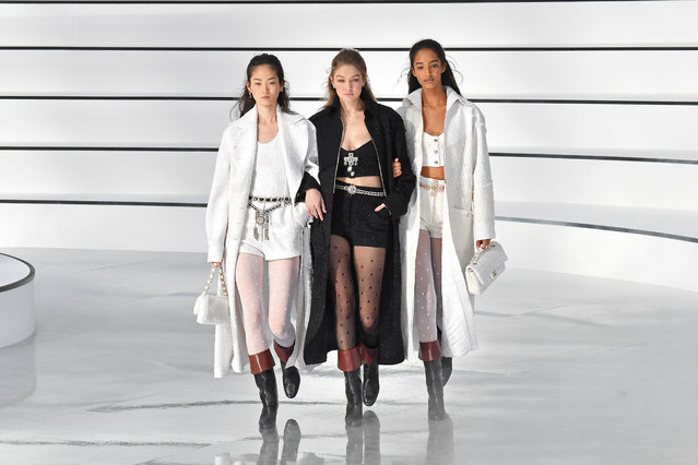 Gigi Hadid and models walk the runway during the Chanel as part of the Paris Fashion Week Womenswear Fall/Winter 2020/2021 on March 03, 2020 in Paris, France. (Photo by Stephane Cardinale – Corbis/Corbis via Getty Images)