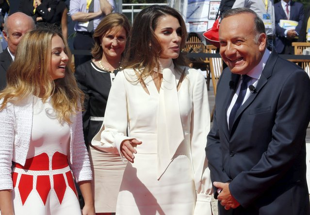 French employer's body MEDEF union leader Pierre Gattaz (R) arrives with Jordan's Queen Rania (C) and her daughter Princess Salma (L) at the MEDEF union summer forum on the campus of the HEC School of Management in Jouy-en-Josas, near Paris, France, August 26, 2015. (Photo by Regis Duvignau/Reuters)