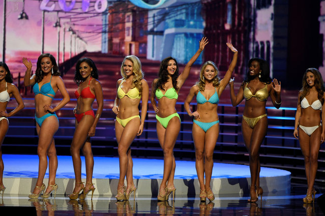 Contestants await the results after competing in the swimsuit component of the 97th Miss America Competition in Atlantic City, New Jersey U.S. September 10, 2017. (Photo by Mark Makela/Reuters)