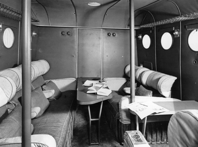 Day cabin of an Imperial Airways flying boat, most likely of the Short Empire class, August 1936. (Photo by Fox Photos/Getty Images)
