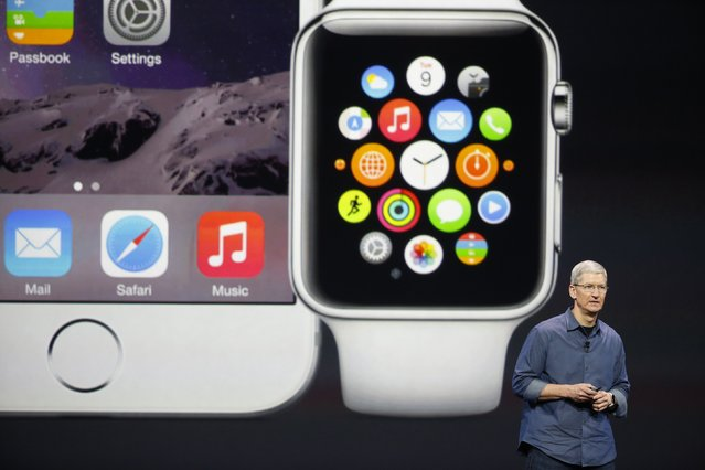 Apple CEO Tim Cook speaks during an Apple event announcing the iPhone 6 and the Apple Watch at the Flint Center in Cupertino, California, September 9, 2014. (Photo by Stephen Lam/Reuters)