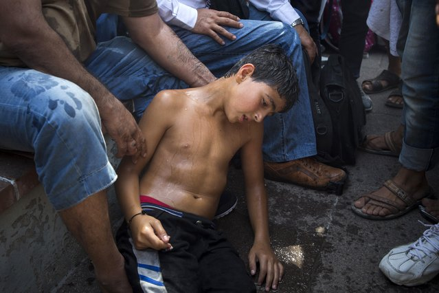 A Syrian boy, suffering from the effects of the heatwave, sits as migrants and refugees take part in a protest to demand faster processing by local authorities of their registration and the issuing of travel documents, at the port of Mytilene, on the northeastern Greek island of Lesbos, Monday, September 7, 2015. (Photo by Santi Palacios/AP Photo)